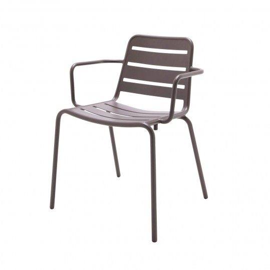 Nomad Aluminum Stacking Chair w/Arms - Taupe