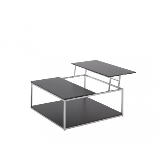 """Cloud 40"""" x 40"""" Adjustable Height Coffee Table with Base Shelf- Black HPL Top"""