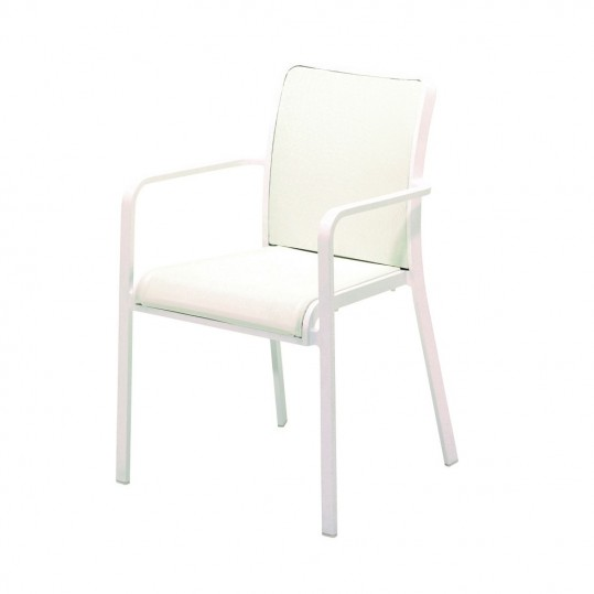 Riva Stacking Chair w/Arms (Crystal White/White)