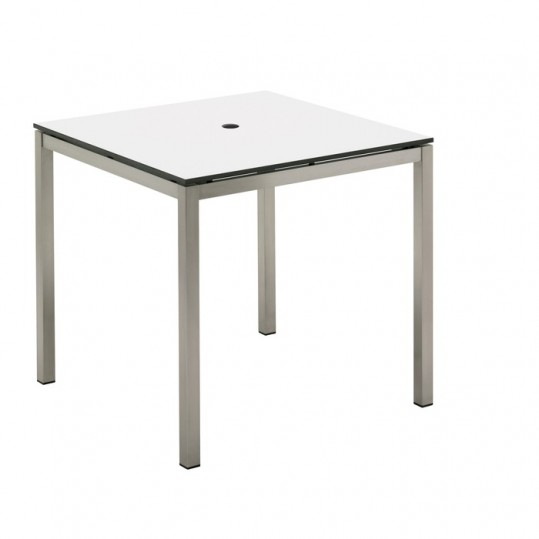 """Kore 31.5"""" Dining Table - White HPL Top (w/ hole)"""