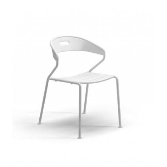 Curve Dining Chair Aluminium Slats - White