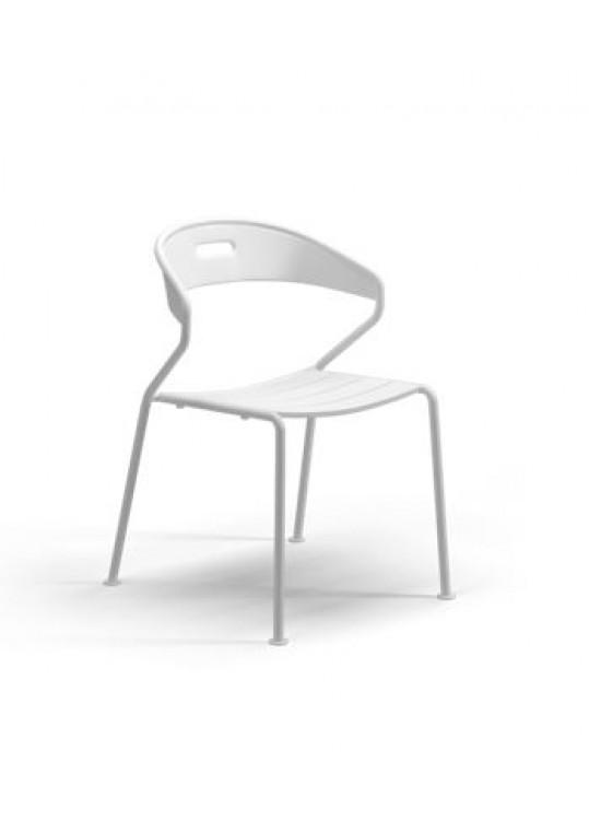 Curve Dining Chair Aluminium Slats - White (Last One!)
