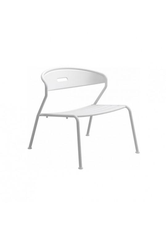 Curve Lounge Chair Aluminium Slats - White