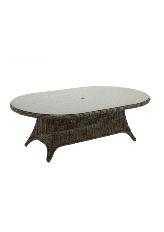 """Havana 54"""" x 86.5"""" Woven Dining Table - Willow w/ Glass Top"""