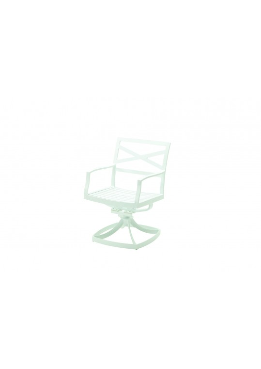 Roma Swivel Rocker Dining with Arms - Crystal White