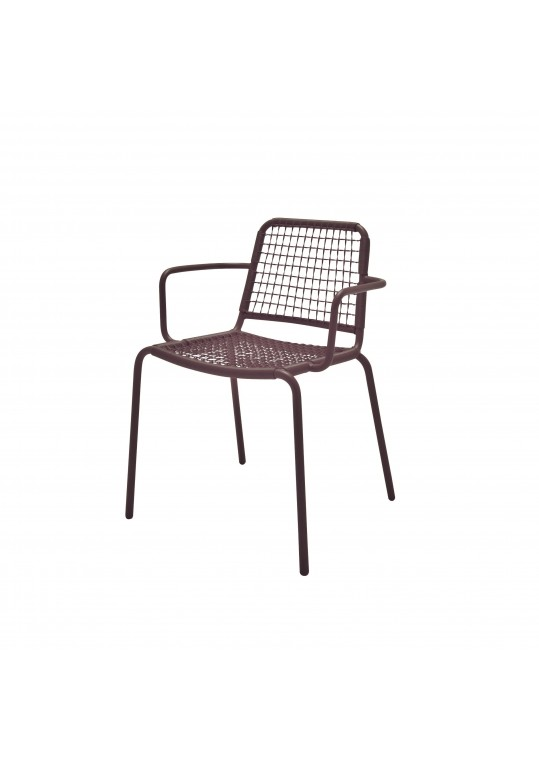 Nomad Woven Stacking Chair w/ Arms - Taupe
