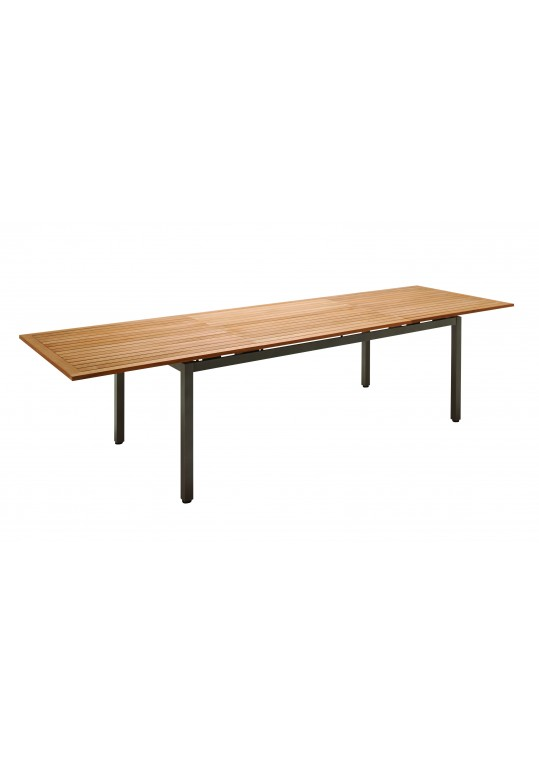 Azore Large Extending Table w/ Teak Top - Slate