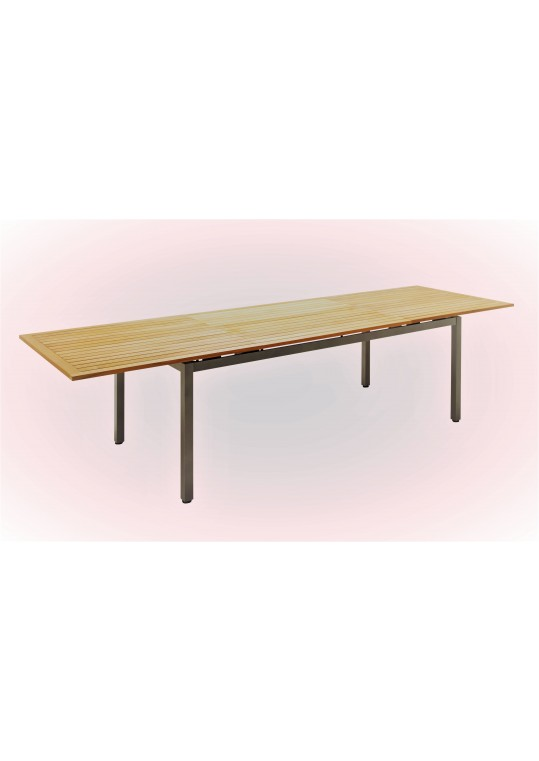 Azore Large Extending Table w/ Teak Top - Tungsten
