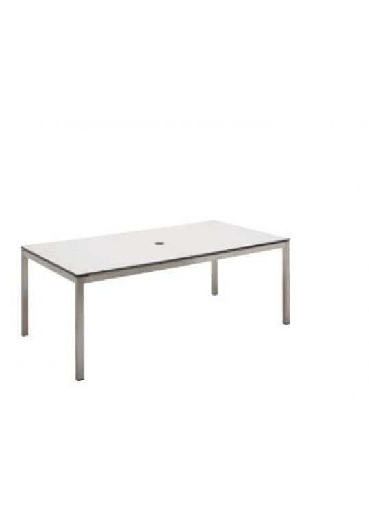 """Kore 43.5"""" x 81"""" Dining Table - White HPL Top (w/Hole)"""