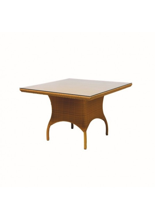 "Savannah 42"" Square Fully Woven Table with Glass Overlay"