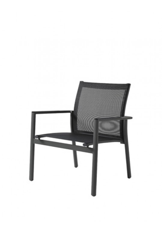 Azore Sling Lounge Stacking Chair w/Arms - Slate/Charcoal