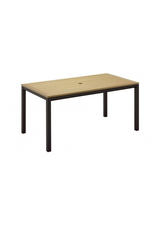 "Azore 63"" x 34"" Square Table - Synthetic Wood Top - Slate"