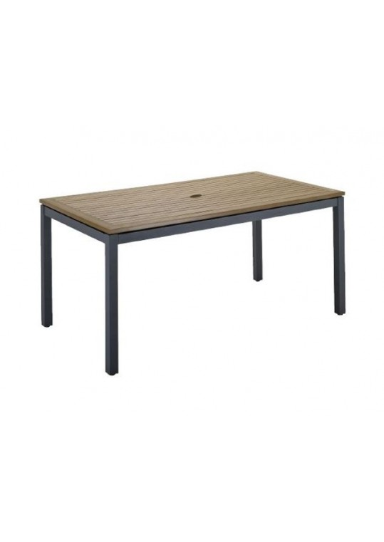 """Azore 63"""" x 34"""" Dining Table - Synthetic Wood Top w/ Parasol Hole - Slate"""