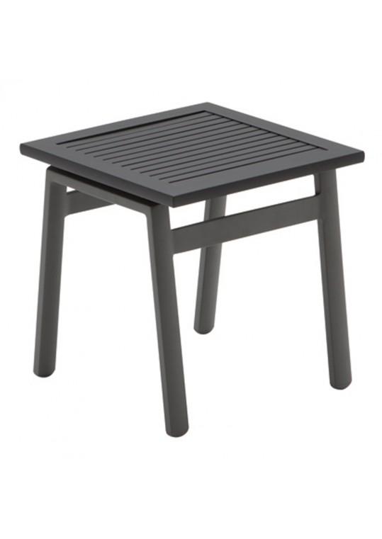 "Azore 15.5"" Square Side Table - Black Slatted Aluminum Top - Slate"