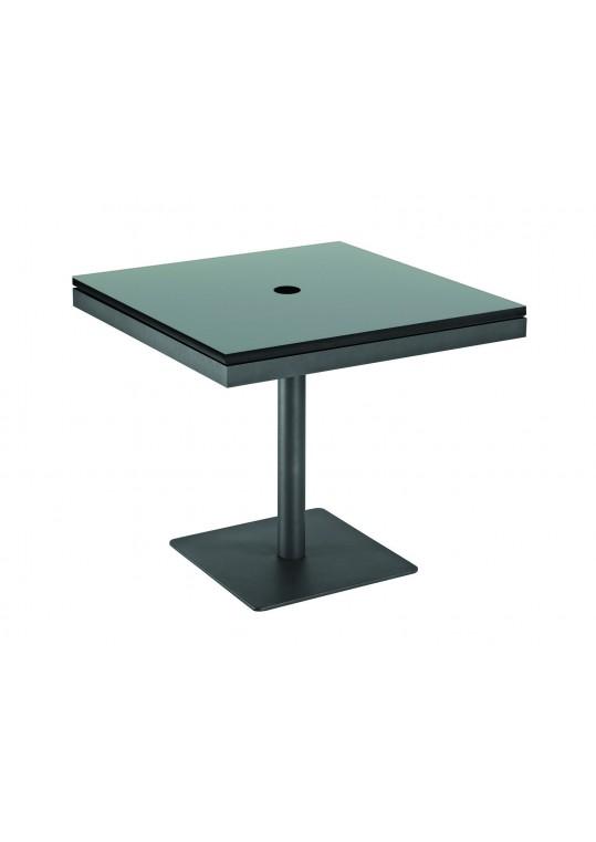 "Azore 34"" Square Pedestal Table - Black HPL Top w/ Parasol Hole - Slate"