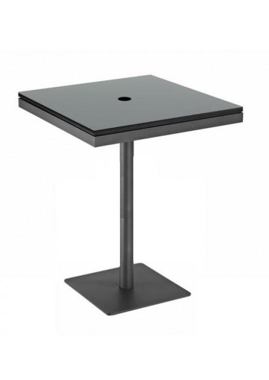 "Azore 34"" Square Pedestal Bar Table - Black HPL Top w/ Parasol Hole - Slate"
