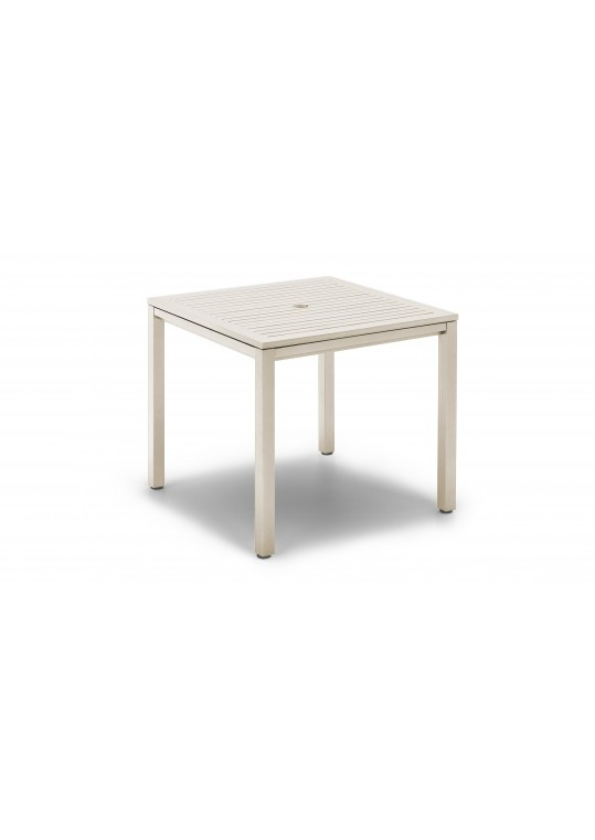 """Azore 36"""" Square Table - Frost Slatted Aluminum Top - Frost"""