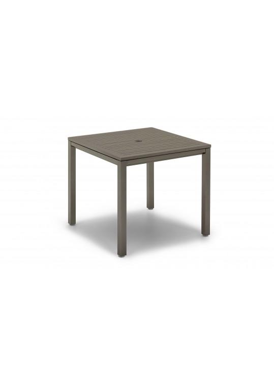 "Azore 36"" Square Table -Tungsten Slatted Aluminum Top - Tungsten"