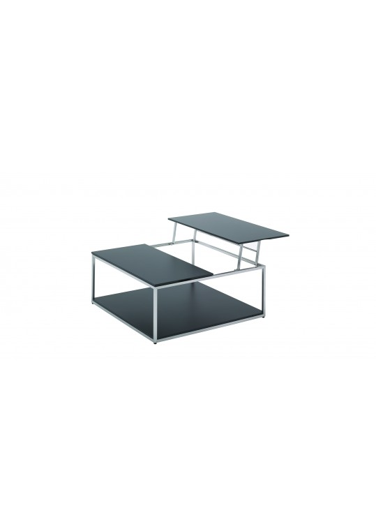 "Cloud 40"" x 40"" Adjustable Height Coffee Table - Black HPL Top"