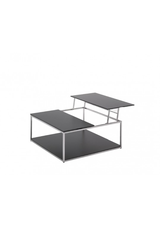 "Cloud 40"" x 40"" Adjustable Height Coffee Table with Base Shelf- Black HPL Top"