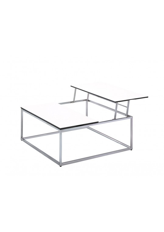 "Cloud 40"" x 40"" Adjustable Height Coffee Table - White HPL Top"