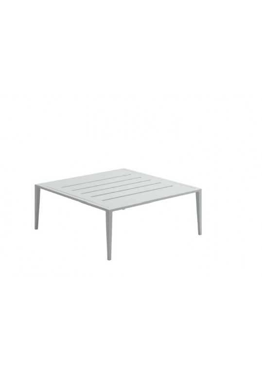 Vista Square Coffee Table w/Slotted Aluminum Top - White