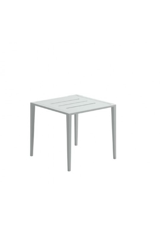 Vista Side Table w/Slotted Aluminum Top - White