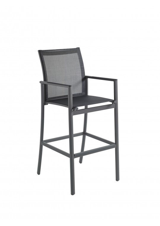 Azore Bar Chair with Arms - Slate/Charcoal