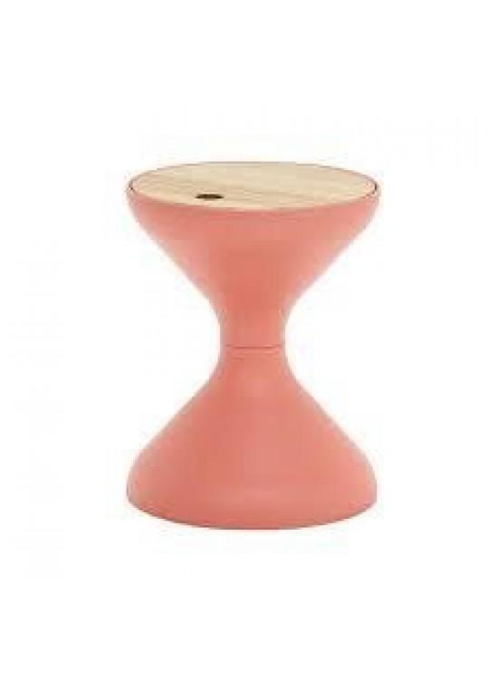 Bells Side Table - Coral  (Teak Top)