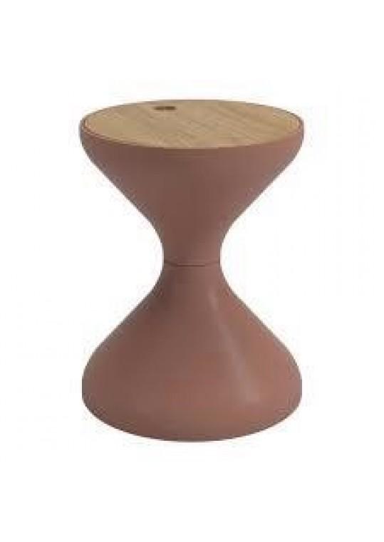 Bells Side Table - Terracotta (Teak Top)