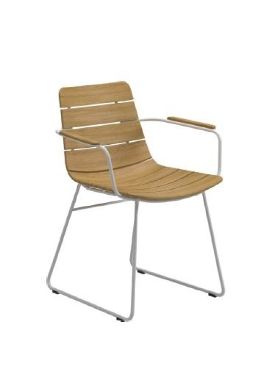 William Dining Chair w Arms - White/Buffed Teak