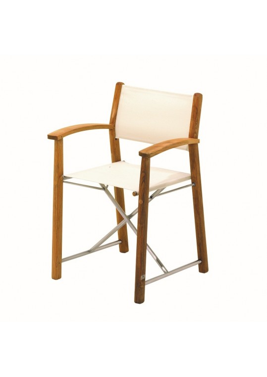 Riviera Folding Chair with Arms - Canvas - Buffed