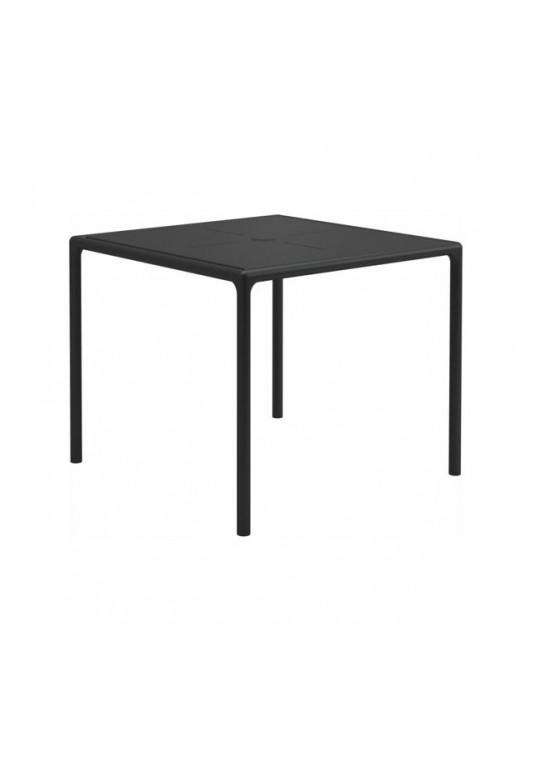 "Curve 35.5"" Square Table - Aluminium Top - Meteor (w/ Parasol Hole)"