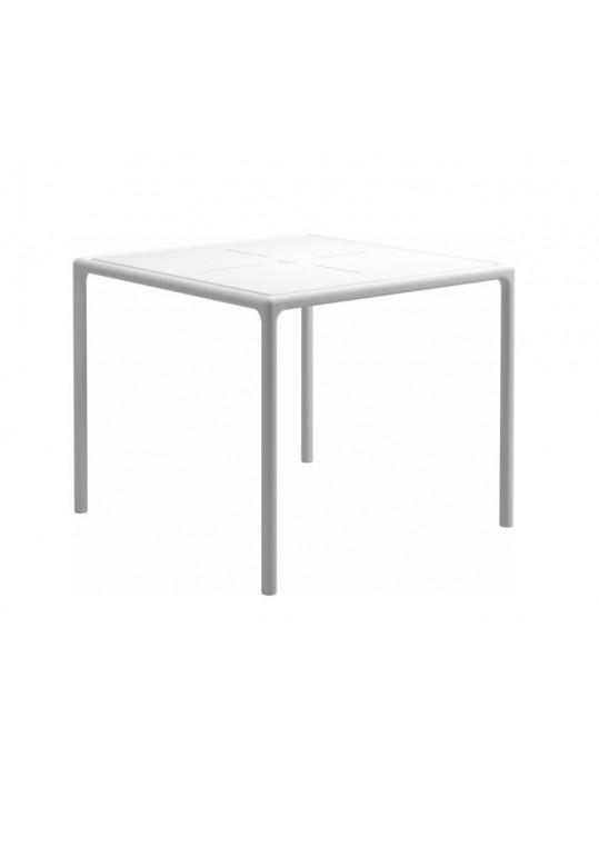 "Curve 35.5"" Square Table - Aluminium Top - White (w/ Parasol Hole)"