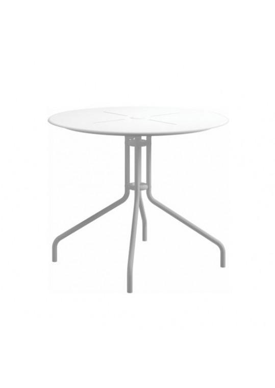 "Curve 35.5"" Round Pedestal Table - Aluminium Top - White (w/ Parasol Hole)"