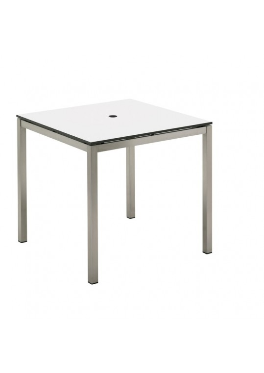 "Kore 31.5"" Dining Table - White HPL Top (w/ hole)"